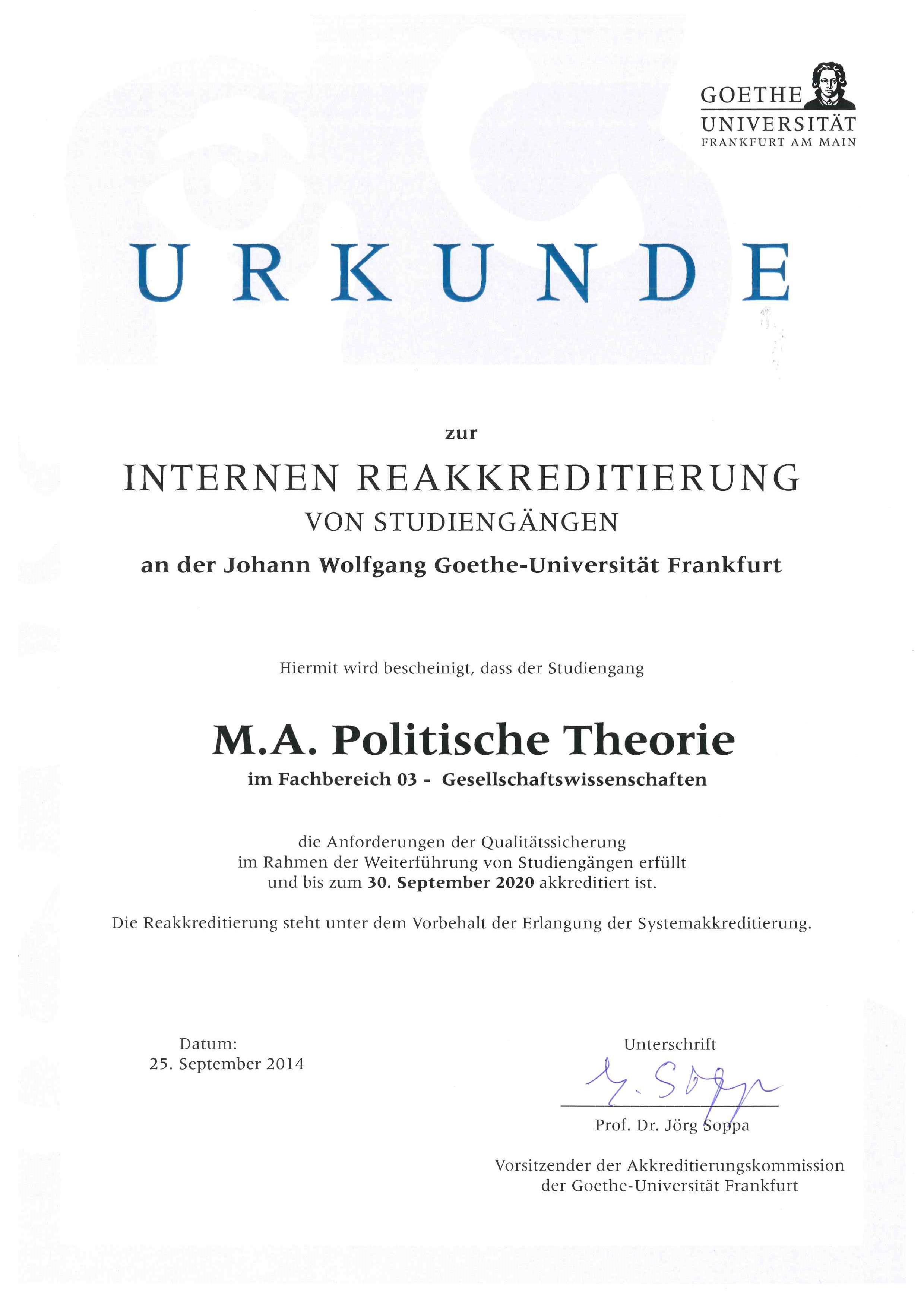 Frankfurt Vorlesungsverzeichnis